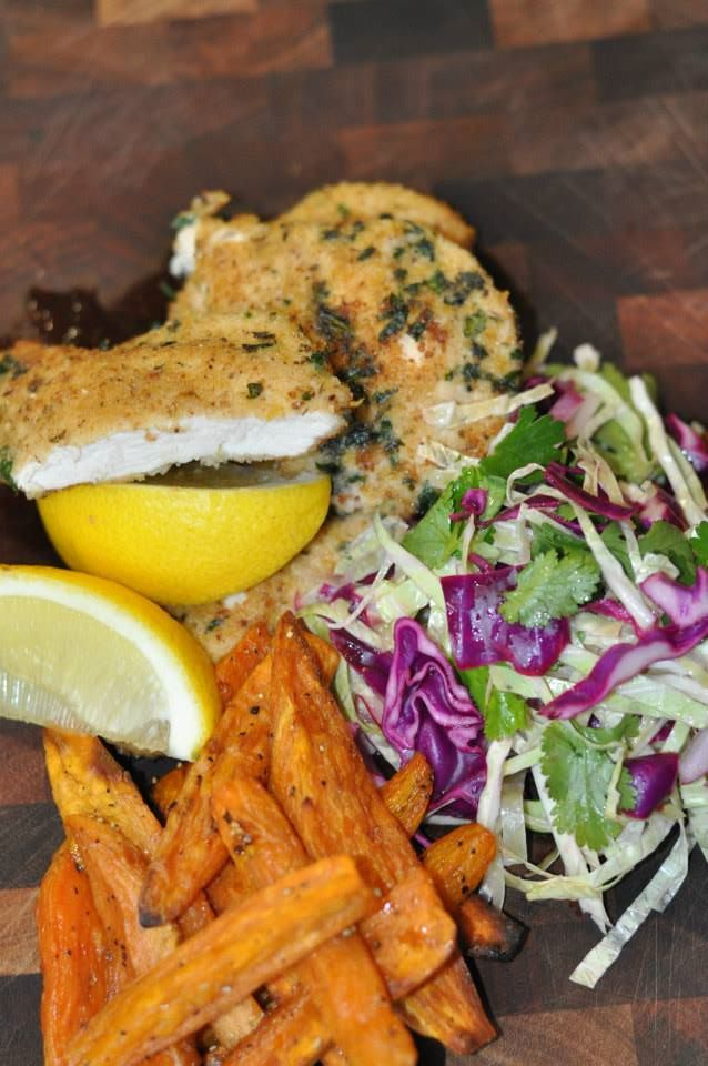 Lemon and Herb Chicken Schnitzel with Slaw and Roasted Sweet ...